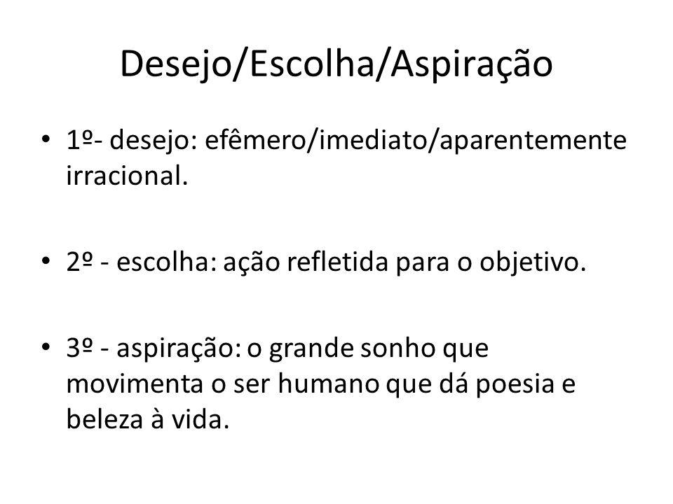 Desejo/Escolha/Aspiração 1º- desejo: efêmero/imediato/aparentemente irracional. 2º - escolha: ação refletida para o objetivo. 3º - aspiração: o grande