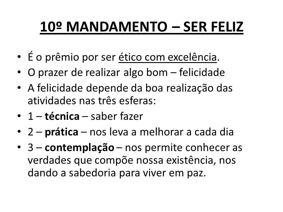 10º MANDAMENTO – SER FELIZ É o prêmio por ser ético com excelência. O prazer de realizar algo bom – felicidade A felicidade depende da boa realização