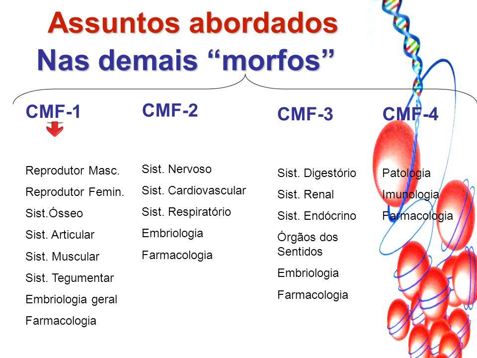 "Nas demais ""morfos"" CMF-1 Reprodutor Masc. Reprodutor Femin. Sist.Ósseo Sist. Articular Sist. Muscular Sist. Tegumentar Embriologia geral Farmacologia"