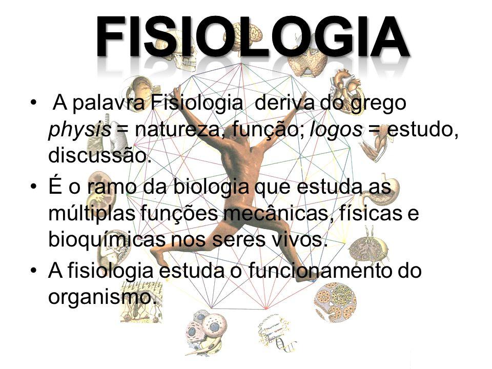 A palavra Fisiologia deriva do grego physis = natureza, função; logos = estudo, discussão. É o ramo da biologia que estuda as múltiplas funções mecâni