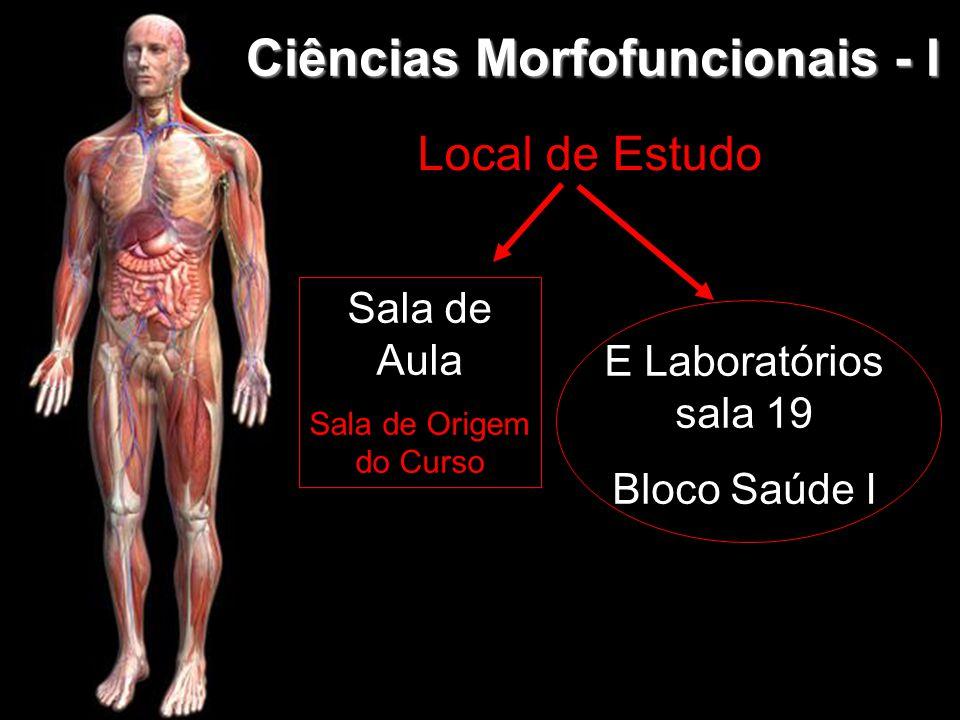 Ciências Morfofuncionais - I Sala de Aula Sala de Origem do Curso E Laboratórios sala 19 Bloco Saúde I Local de Estudo