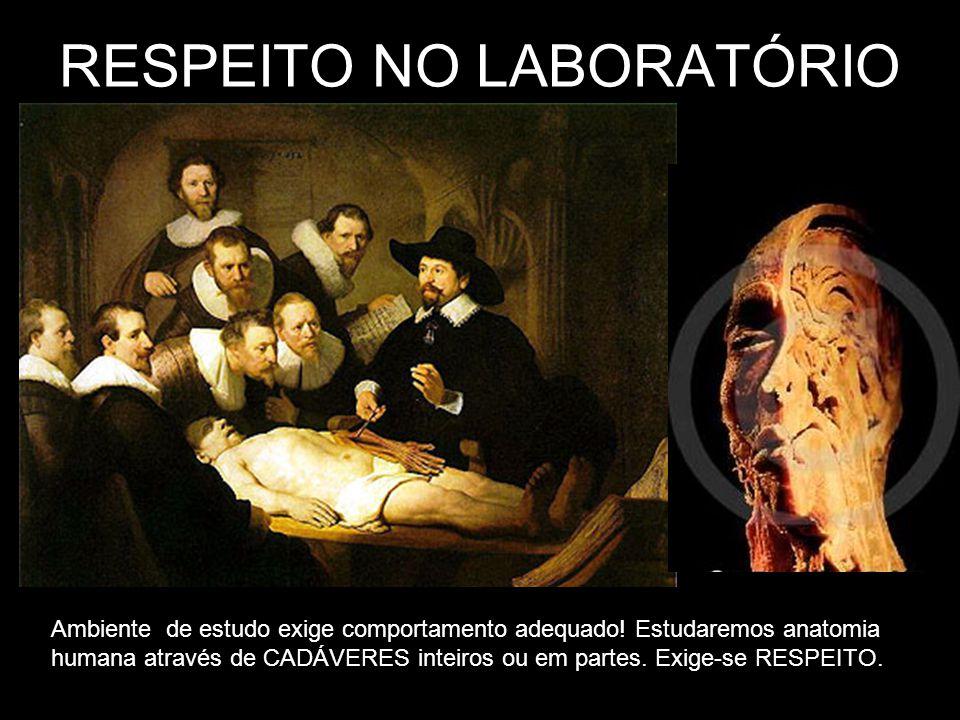 RESPEITO NO LABORATÓRIO Ambiente de estudo exige comportamento adequado! Estudaremos anatomia humana através de CADÁVERES inteiros ou em partes. Exige