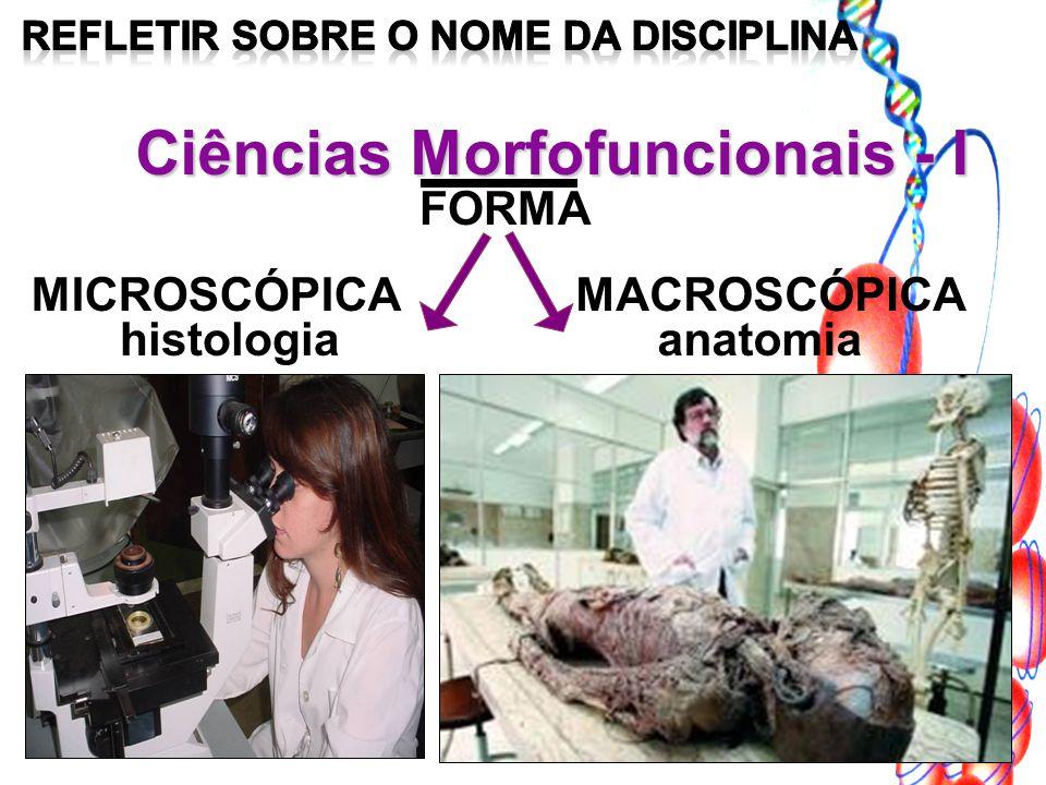 Ciências Morfofuncionais - I FORMA MACROSCÓPICA histologia MICROSCÓPICA anatomia