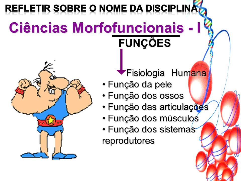 Ciências Morfofuncionais - I FUNÇÕES Fisiologia Humana Função da pele Função da pele Função dos ossos Função dos ossos Função das articulações Função