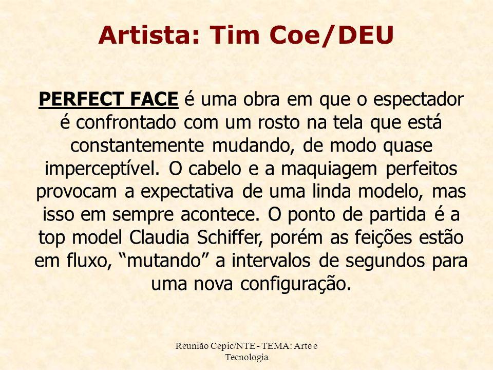 Reunião Cepic/NTE - TEMA: Arte e Tecnologia Artista: Tim Coe/DEU PERFECT FACE é uma obra em que o espectador é confrontado com um rosto na tela que está constantemente mudando, de modo quase imperceptível.
