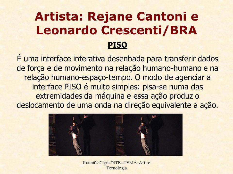Reunião Cepic/NTE - TEMA: Arte e Tecnologia Artista: Rejane Cantoni e Leonardo Crescenti/BRA PISO É uma interface interativa desenhada para transferir dados de força e de movimento na relação humano-humano e na relação humano-espaço-tempo.