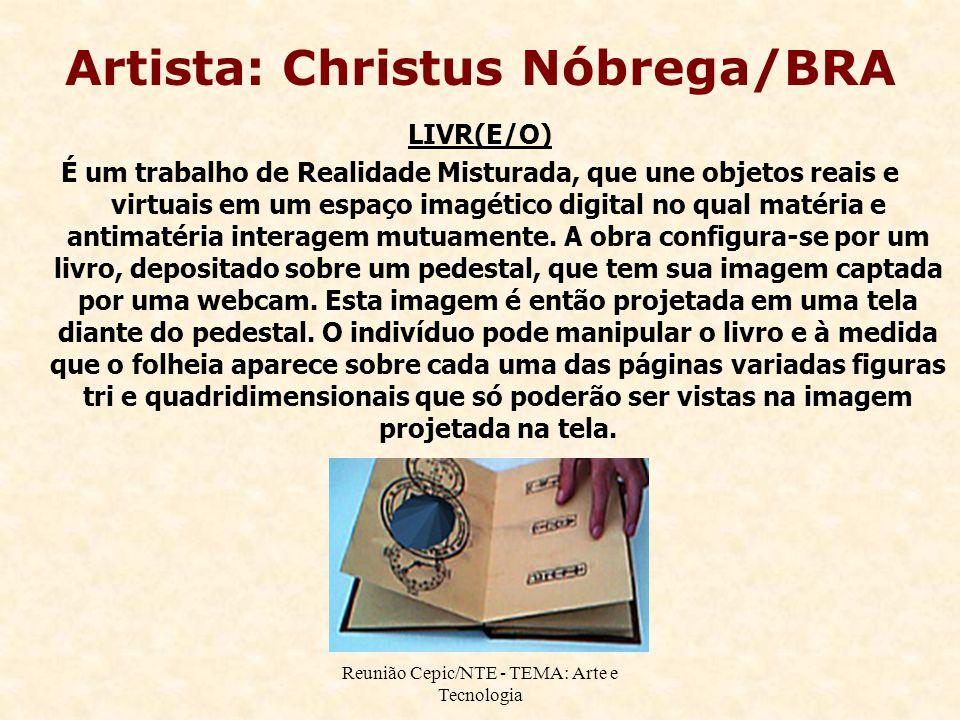 Reunião Cepic/NTE - TEMA: Arte e Tecnologia Artista: Christus Nóbrega/BRA LIVR(E/O) É um trabalho de Realidade Misturada, que une objetos reais e virt