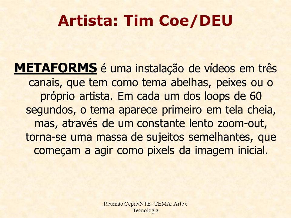 Reunião Cepic/NTE - TEMA: Arte e Tecnologia METAFORMS é uma instalação de vídeos em três canais, que tem como tema abelhas, peixes ou o próprio artista.