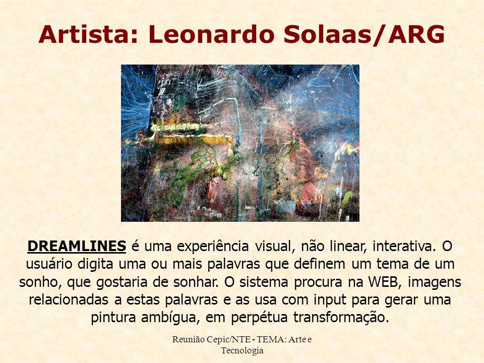 Reunião Cepic/NTE - TEMA: Arte e Tecnologia Artista: Leonardo Solaas/ARG DREAMLINES é uma experiência visual, não linear, interativa.