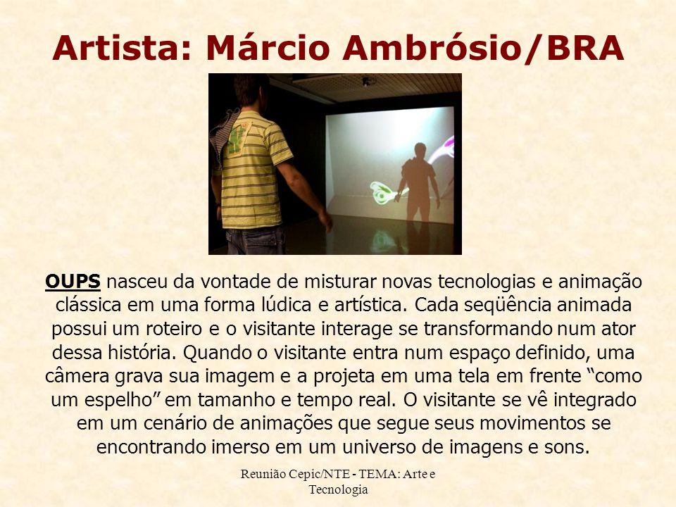 Reunião Cepic/NTE - TEMA: Arte e Tecnologia Artista: Márcio Ambrósio/BRA OUPS nasceu da vontade de misturar novas tecnologias e animação clássica em u