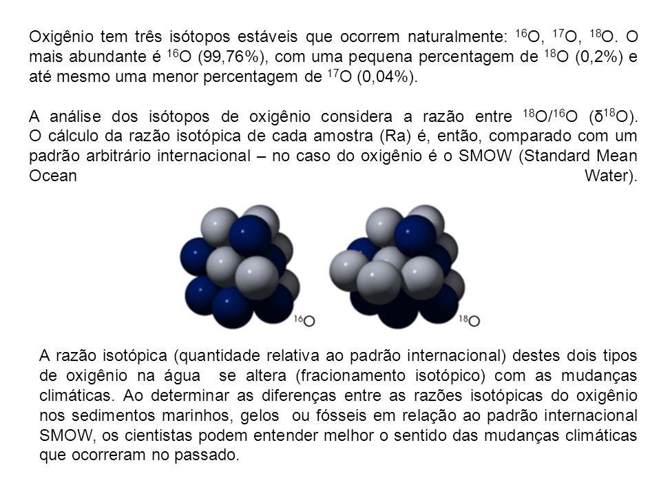 Água meteórica (aquela que faz parte do ciclo hidrológico) do mar é, em grande parte, composta por moléculas H 2 16 O, (99,7%) com pequenas quantidades de e HD 18 O (0,032%).