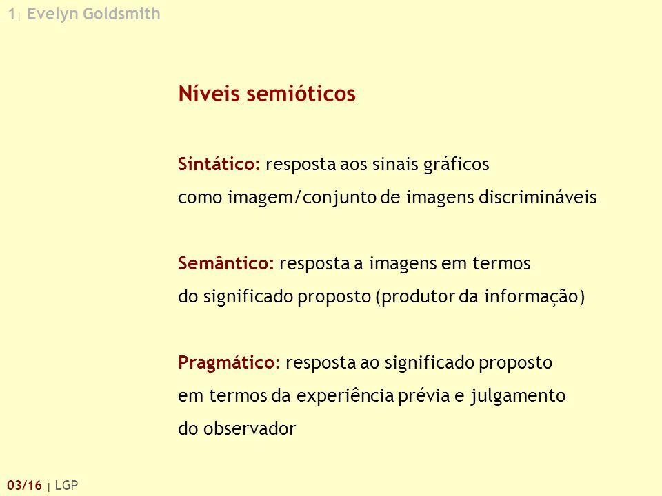 1 | Evelyn Goldsmith 03/16 | LGP Níveis semióticos Sintático: resposta aos sinais gráficos como imagem/conjunto de imagens discrimináveis Semântico: r