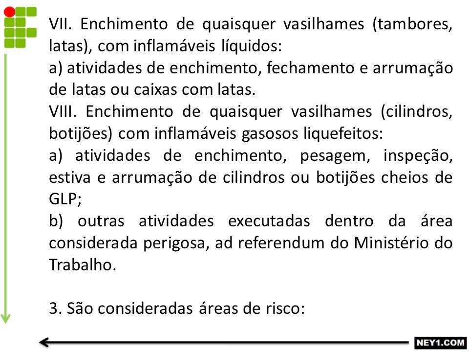 VII. Enchimento de quaisquer vasilhames (tambores, latas), com inflamáveis líquidos: a) atividades de enchimento, fechamento e arrumação de latas ou c