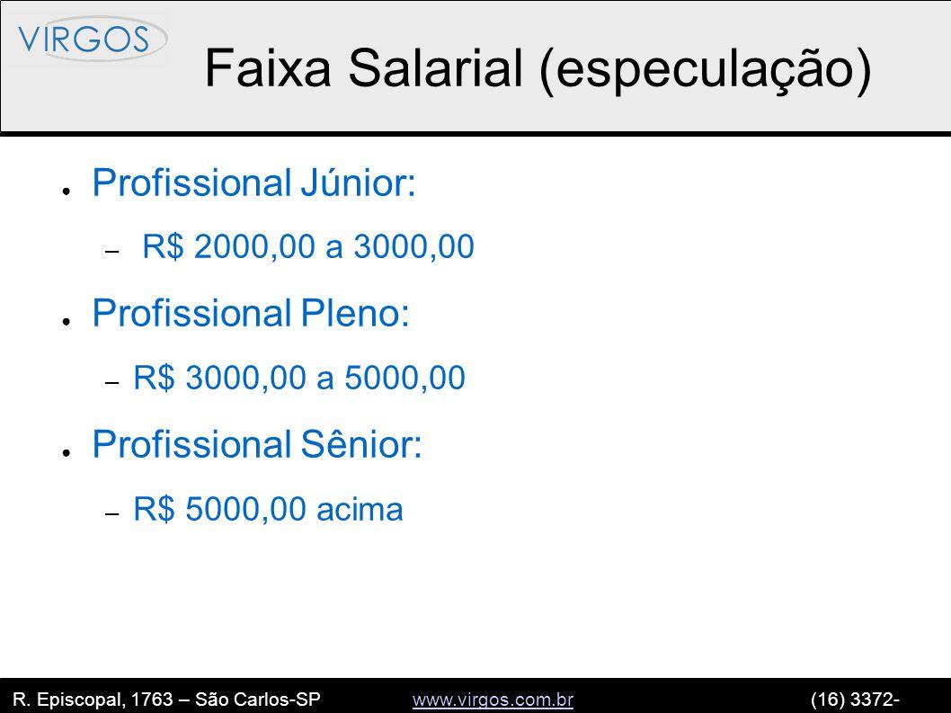 R. Episcopal, 1763 – São Carlos-SP www.virgos.com.br (16) 3372- 2120www.virgos.com.br Faixa Salarial (especulação) ● Profissional Júnior: – R$ 2000,00