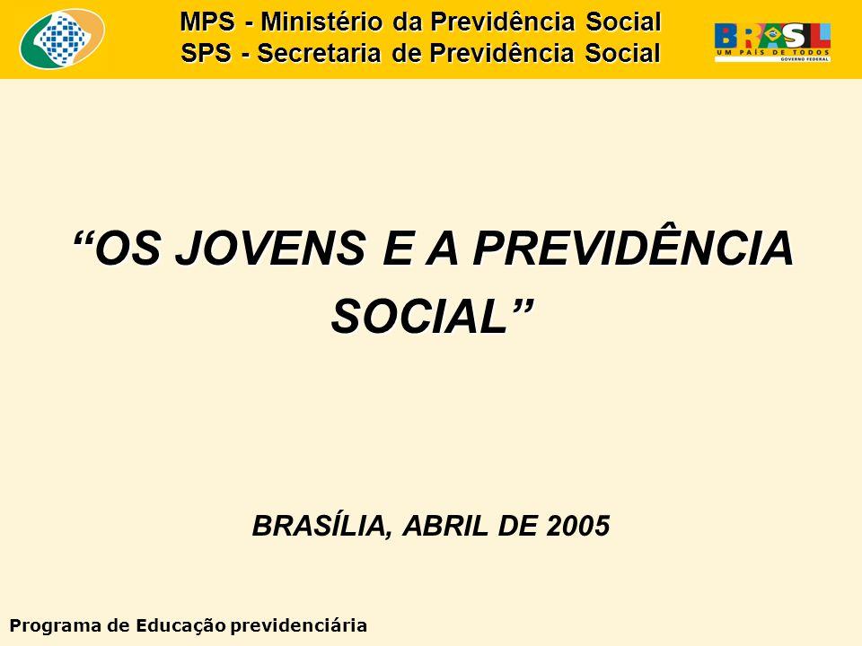 OS JOVENS E A PREVIDÊNCIA SOCIAL BRASÍLIA, ABRIL DE 2005 MPS - Ministério da Previdência Social SPS - Secretaria de Previdência Social Programa de Educação previdenciária