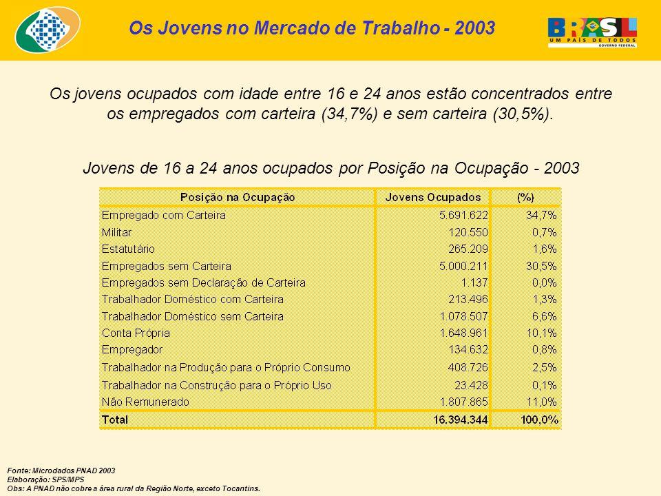 Os Jovens no Mercado de Trabalho - 2003 Fonte: Microdados PNAD 2003 Elaboração: SPS/MPS Obs: A PNAD não cobre a área rural da Região Norte, exceto Tocantins.