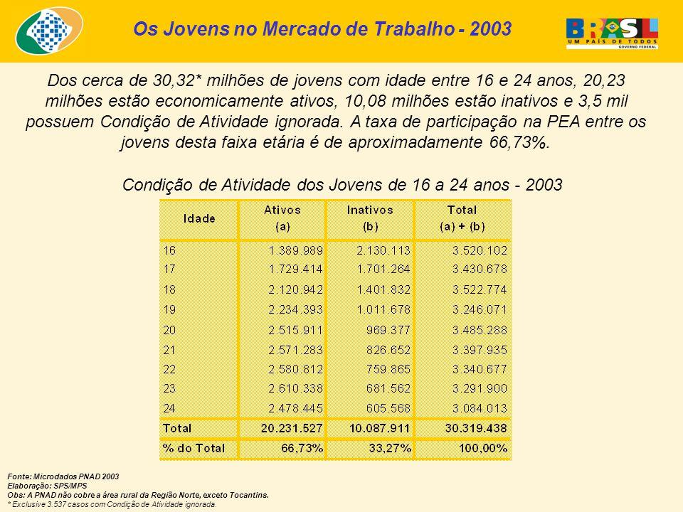 Os Jovens no Mercado de Trabalho - 2003 Condição de Atividade dos Jovens de 16 a 24 anos - 2003 Fonte: Microdados PNAD 2003 Elaboração: SPS/MPS Obs: A PNAD não cobre a área rural da Região Norte, exceto Tocantins.