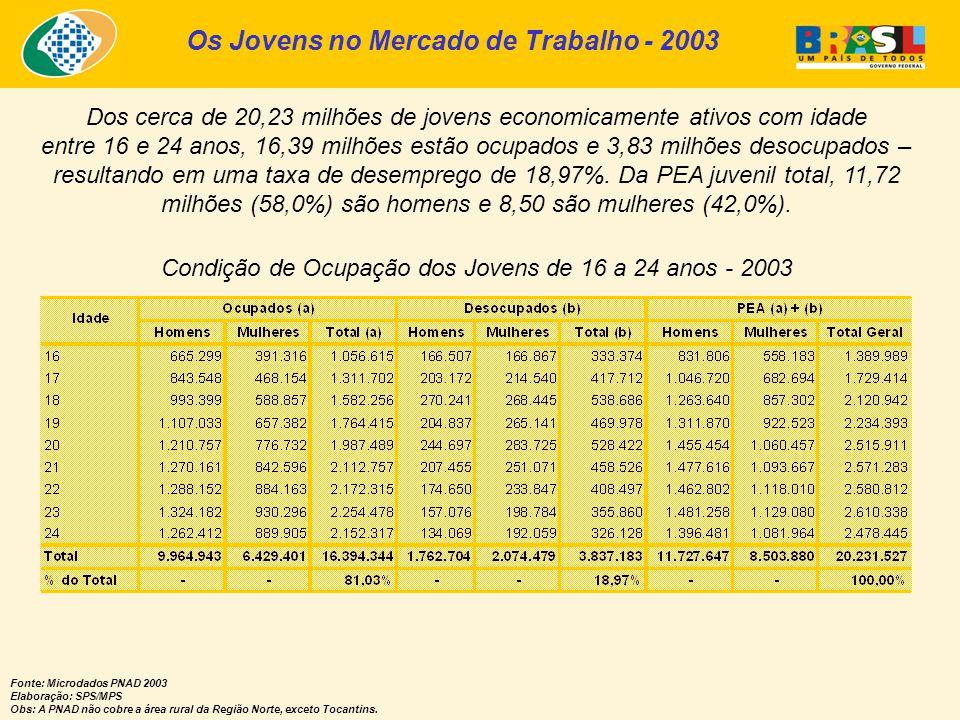 Os Jovens no Mercado de Trabalho - 2003 Condição de Ocupação dos Jovens de 16 a 24 anos - 2003 Fonte: Microdados PNAD 2003 Elaboração: SPS/MPS Obs: A PNAD não cobre a área rural da Região Norte, exceto Tocantins.