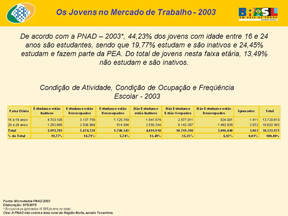 Os Jovens no Mercado de Trabalho - 2003 Fonte: Microdados PNAD 2003 Elaboração: SPS/MPS * Exclusive os ignorados (6.585 jovens no total).