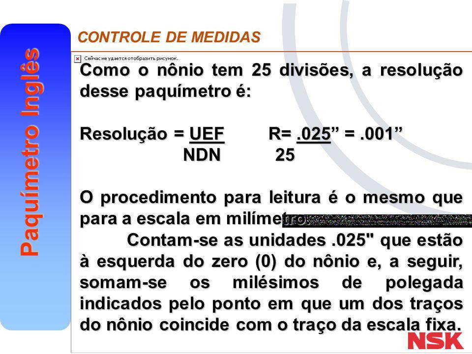 """CONTROLE DE MEDIDAS Paquímetro Inglês Como o nônio tem 25 divisões, a resolução desse paquímetro é: Resolução = UEFR=.025"""" =.001"""" NDN 25 NDN 25 O proc"""