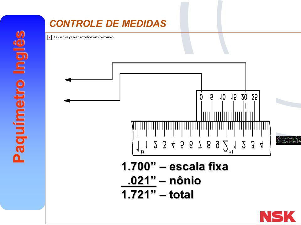 """CONTROLE DE MEDIDAS Paquímetro Inglês 1.700"""" – escala fixa.021"""" – nônio.021"""" – nônio 1.721"""" – total"""