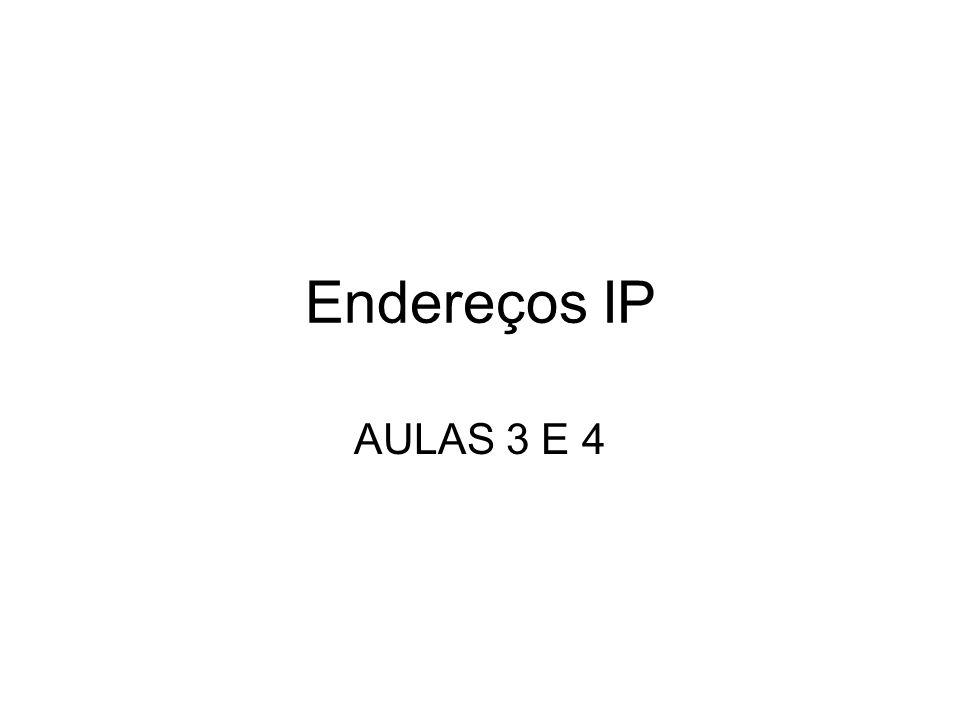 Máscara de rede (netmask) Endereçamento –Os endereços IP no IPv4 têm 32 bits de comprimento –Endereço de rede (que identifica toda a rede ou subrede) –Endereço de host Uma máscaras de subrede são máscaras de bits que mostram onde o endereço de rede termina e o endereço de host começa.