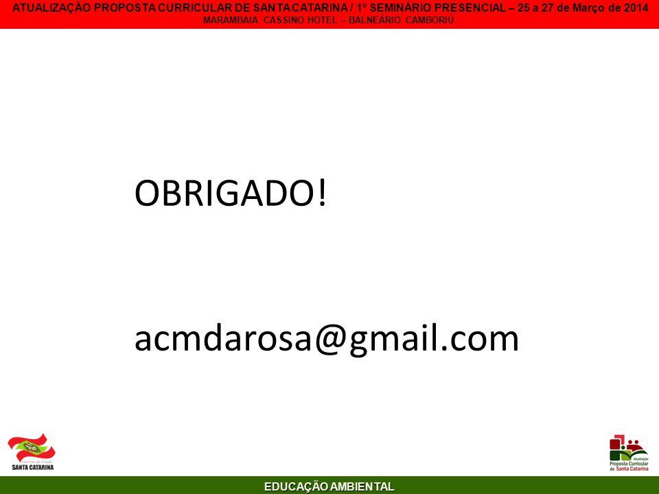 EDUCAÇÃO AMBIENTAL ATUALIZAÇÃO PROPOSTA CURRICULAR DE SANTA CATARINA / 1º SEMINÁRIO PRESENCIAL – 25 a 27 de Março de 2014 MARAMBAIA CASSINO HOTEL – BA