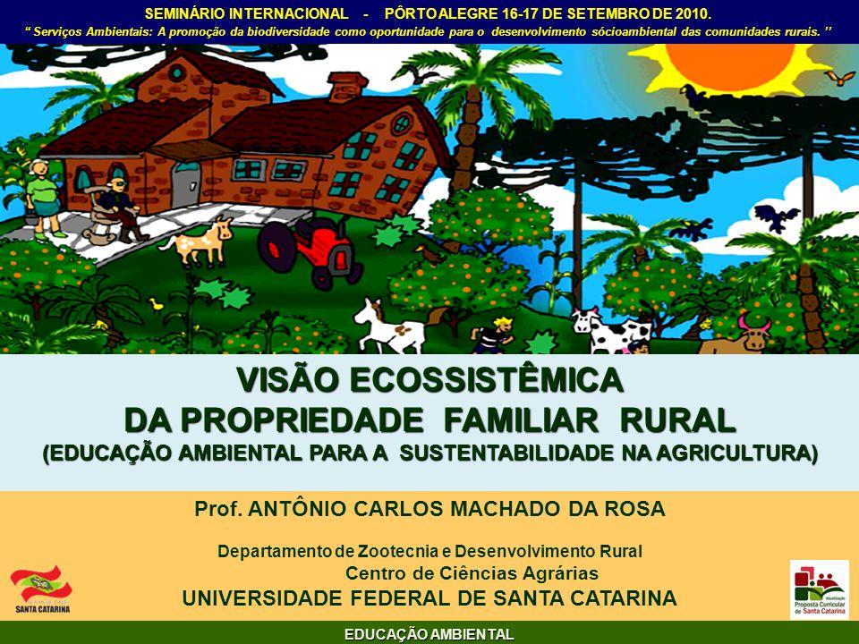 VISÃO ECOSSISTÊMICA DA PROPRIEDADE FAMILIAR RURAL (EDUCAÇÃO AMBIENTAL PARA A SUSTENTABILIDADE NA AGRICULTURA) Prof. ANTÔNIO CARLOS MACHADO DA ROSA Dep