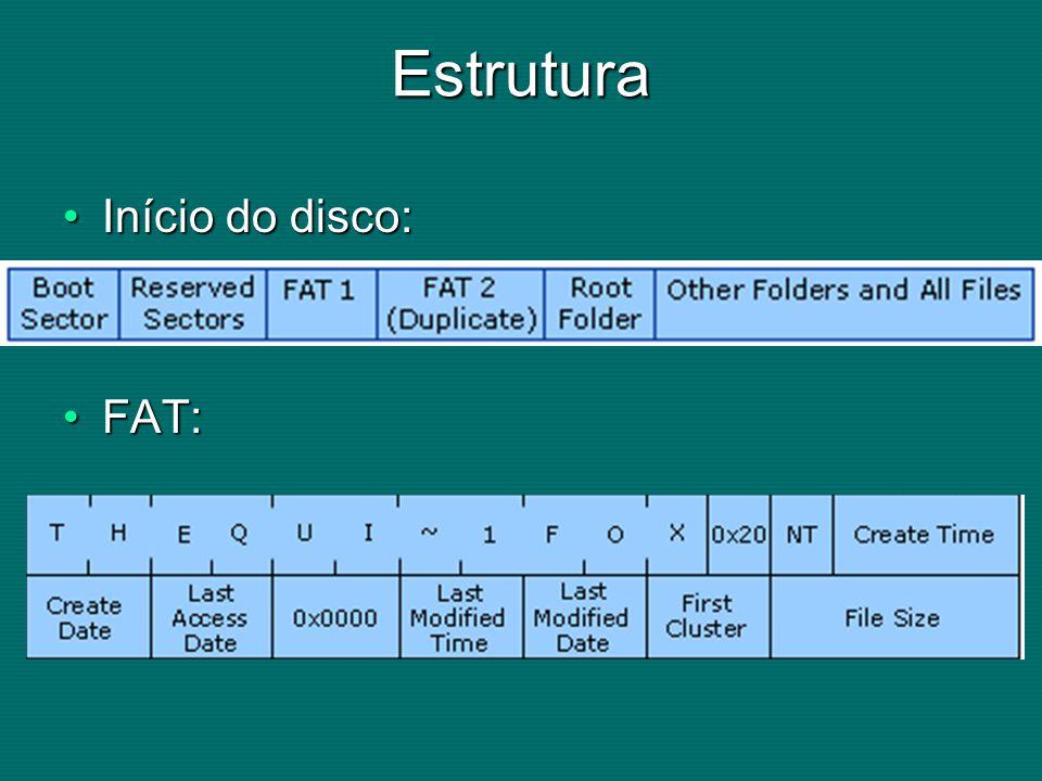 Estrutura Início do disco:Início do disco: FAT:FAT: