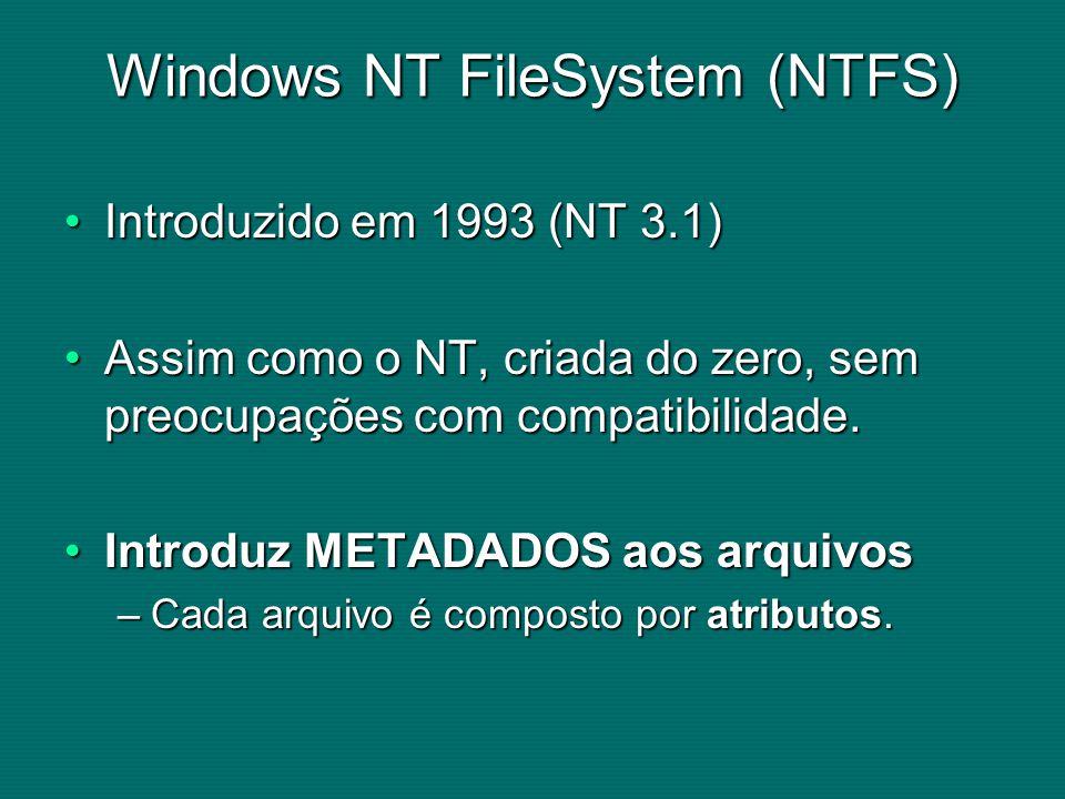 Windows NT FileSystem (NTFS) Introduzido em 1993 (NT 3.1)Introduzido em 1993 (NT 3.1) Assim como o NT, criada do zero, sem preocupações com compatibilidade.Assim como o NT, criada do zero, sem preocupações com compatibilidade.