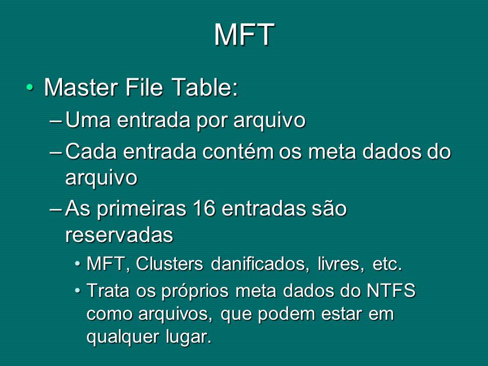 MFT Master File Table:Master File Table: –Uma entrada por arquivo –Cada entrada contém os meta dados do arquivo –As primeiras 16 entradas são reservadas MFT, Clusters danificados, livres, etc.MFT, Clusters danificados, livres, etc.