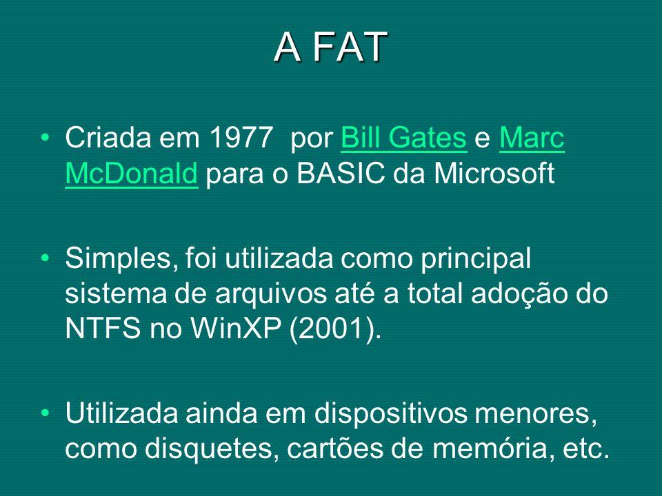 A FAT Criada em 1977 por Bill Gates e Marc McDonald para o BASIC da MicrosoftBill GatesMarc McDonald Simples, foi utilizada como principal sistema de arquivos até a total adoção do NTFS no WinXP (2001).