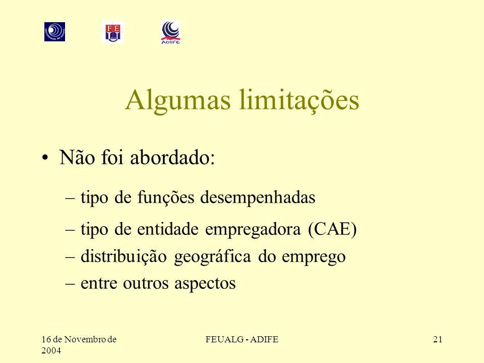 16 de Novembro de 2004 FEUALG - ADIFE21 Algumas limitações Não foi abordado: –tipo de funções desempenhadas –tipo de entidade empregadora (CAE) –distribuição geográfica do emprego –entre outros aspectos