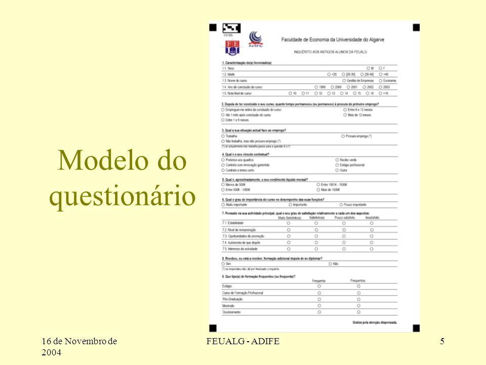 16 de Novembro de 2004 FEUALG - ADIFE5 Modelo do questionário