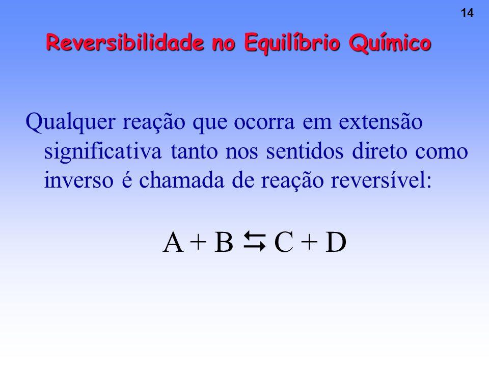 14 Reversibilidade no Equilíbrio Químico Qualquer reação que ocorra em extensão significativa tanto nos sentidos direto como inverso é chamada de reação reversível: A + B  C + D