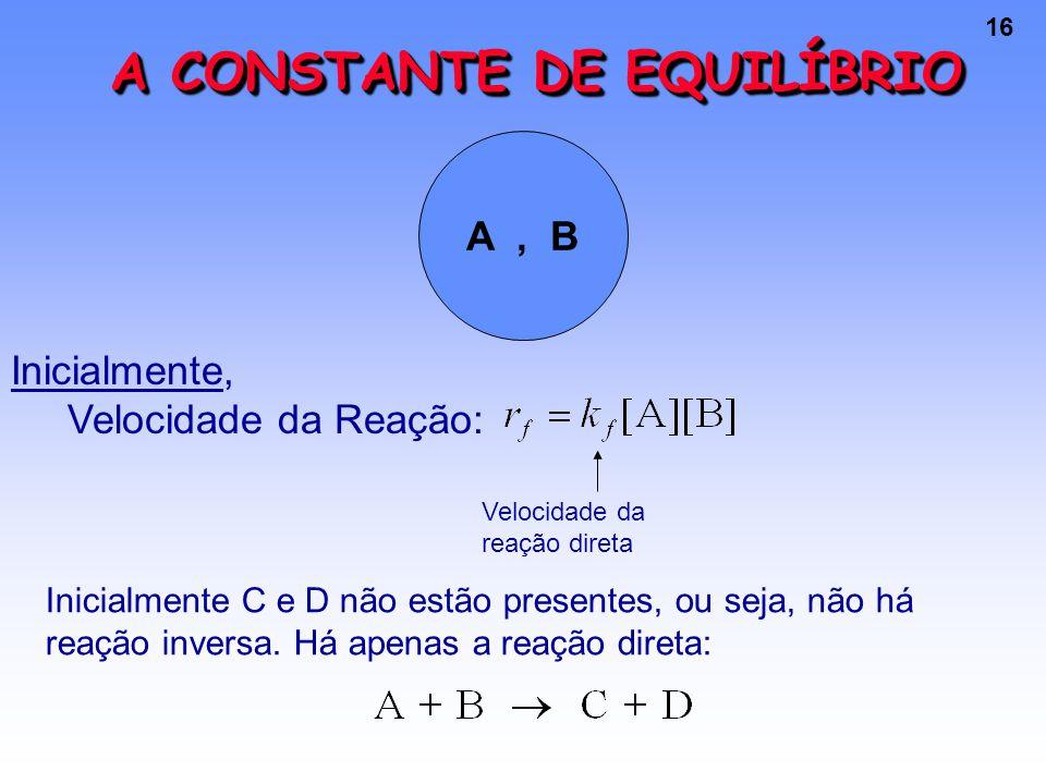 16 A CONSTANTE DE EQUILÍBRIO A, B Inicialmente, Velocidade da Reação: Velocidade da reação direta Inicialmente C e D não estão presentes, ou seja, não há reação inversa.