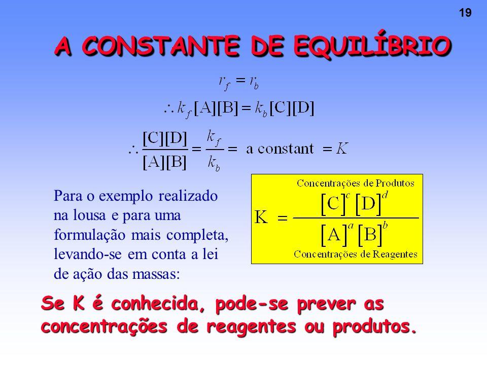 19 A CONSTANTE DE EQUILÍBRIO Para o exemplo realizado na lousa e para uma formulação mais completa, levando-se em conta a lei de ação das massas: Se K é conhecida, pode-se prever as concentrações de reagentes ou produtos.