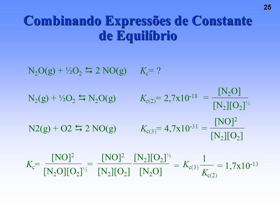 25 Combinando Expressões de Constante de Equilíbrio N 2 O(g) + ½O 2  2 NO(g)K c = .