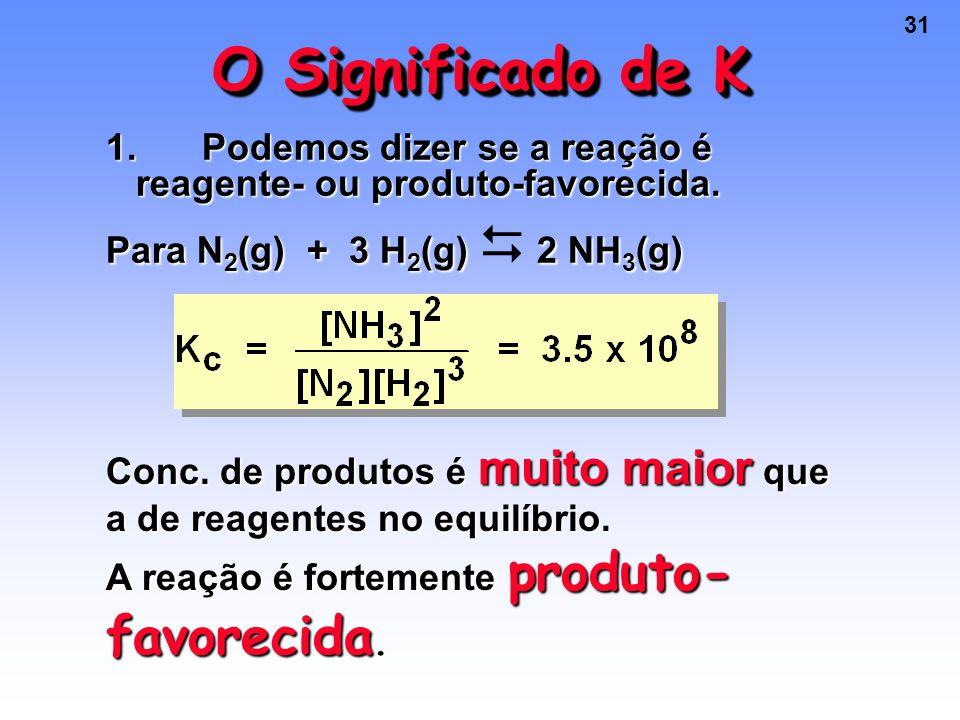 31 O Significado de K 1.Podemos dizer se a reação é reagente- ou produto-favorecida.