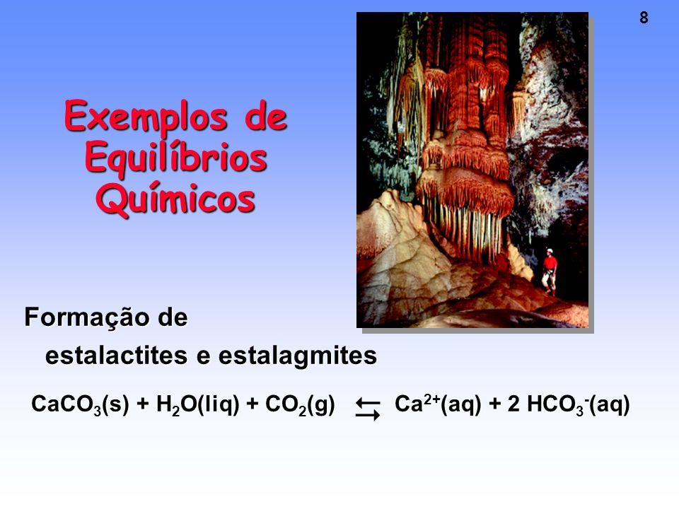 8 Exemplos de Equilíbrios Químicos Formação de estalactites e estalagmites CaCO 3 (s) + H 2 O(liq) + CO 2 (g) Ca 2+ (aq) + 2 HCO 3 - (aq) CaCO 3 (s) + H 2 O(liq) + CO 2 (g) Ca 2+ (aq) + 2 HCO 3 - (aq) 