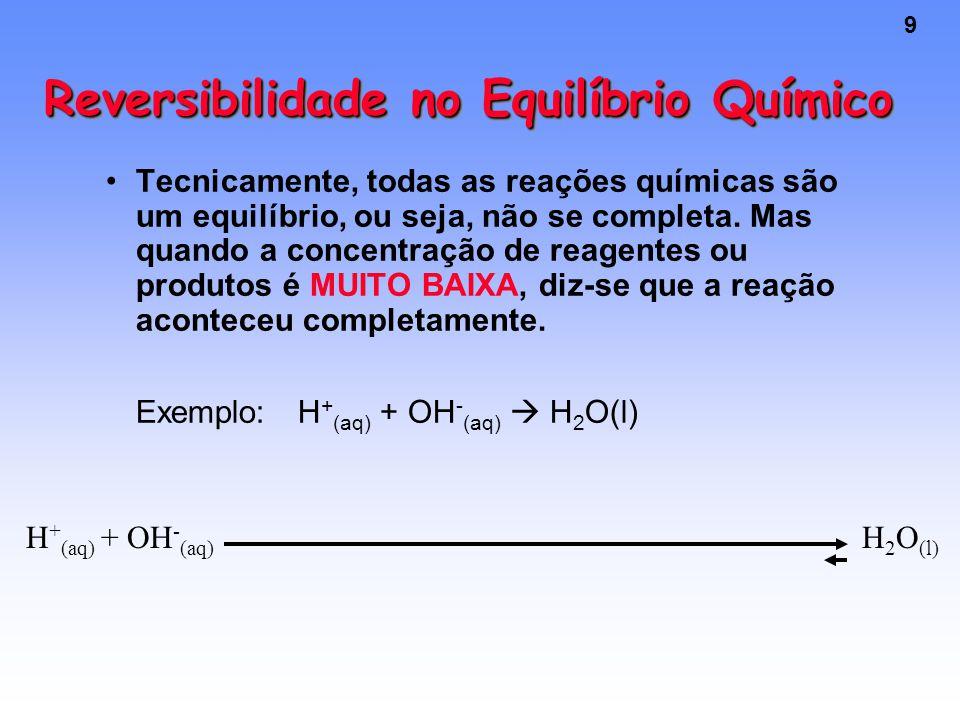 9 Reversibilidade no Equilíbrio Químico Tecnicamente, todas as reações químicas são um equilíbrio, ou seja, não se completa.