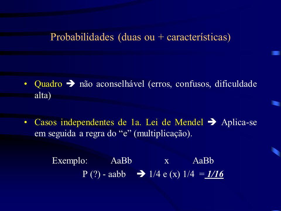Probabilidades (duas ou + características) Quadro  não aconselhável (erros, confusos, dificuldade alta) Casos independentes de 1a. Lei de Mendel  Ap