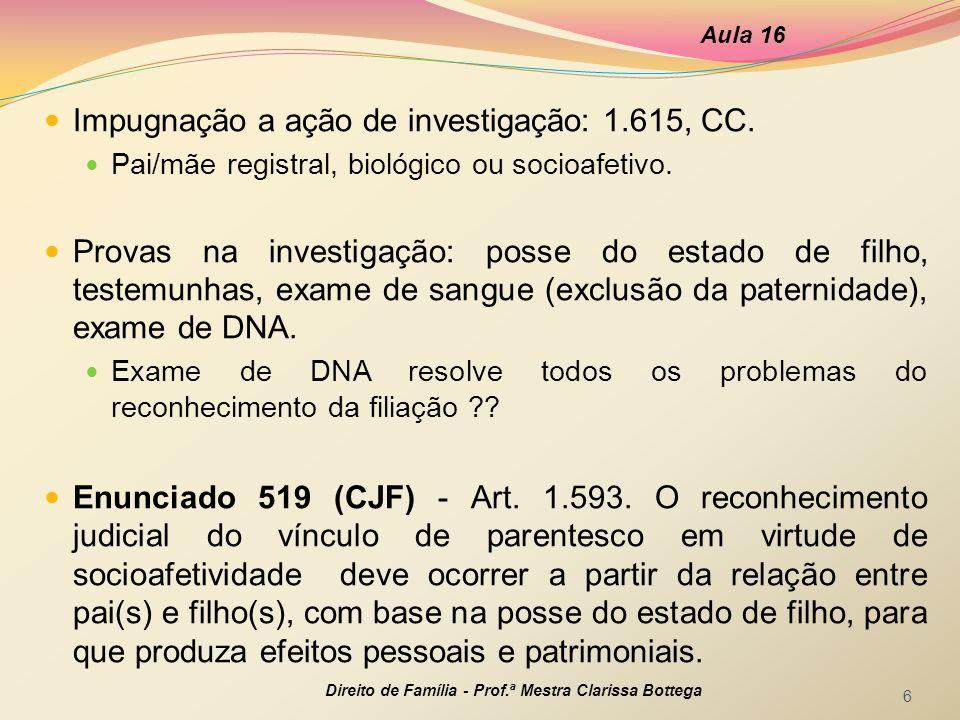 Impugnação a ação de investigação: 1.615, CC.Pai/mãe registral, biológico ou socioafetivo.