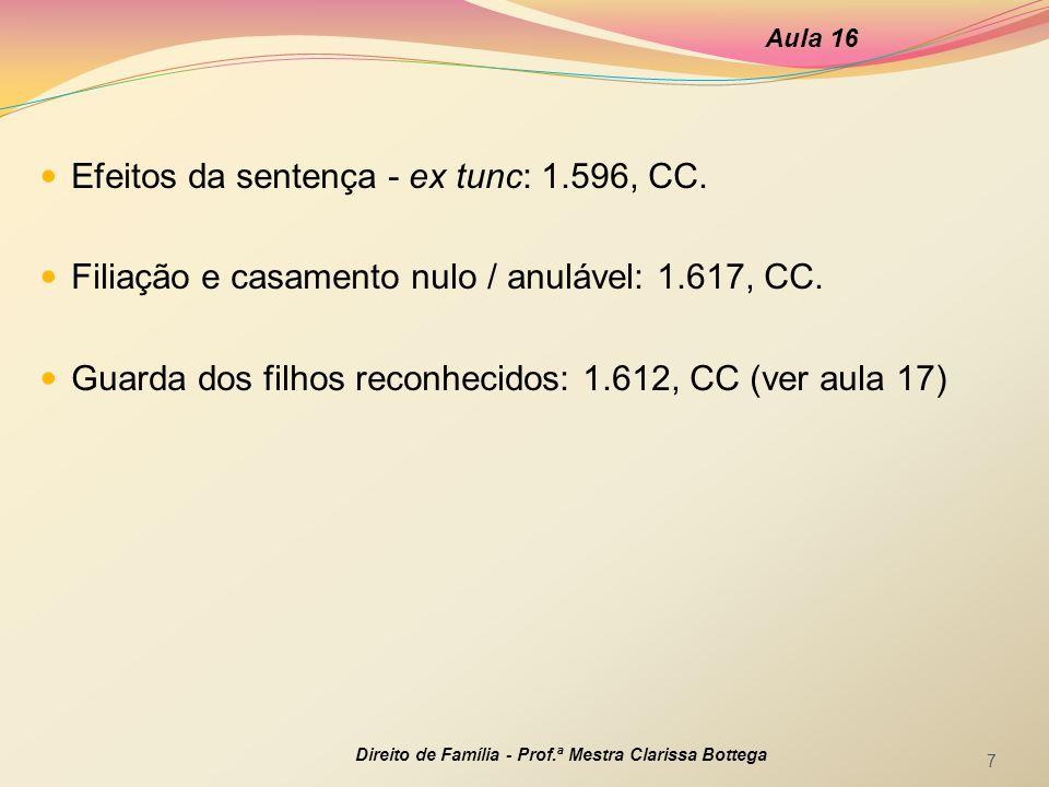 Efeitos da sentença - ex tunc: 1.596, CC.Filiação e casamento nulo / anulável: 1.617, CC.