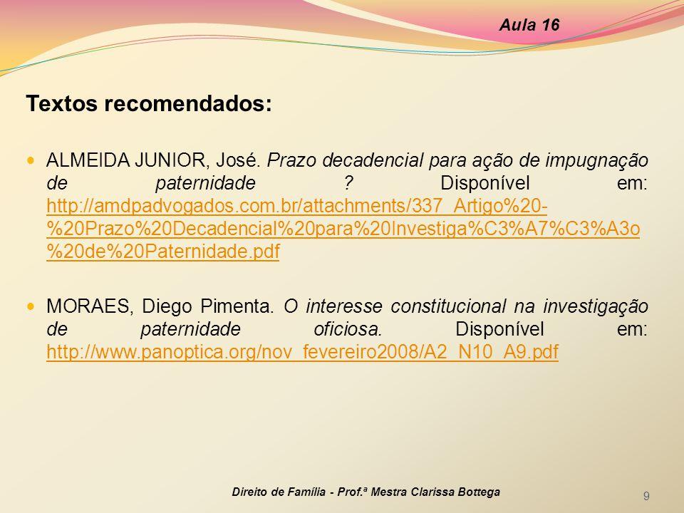 Textos recomendados: ALMEIDA JUNIOR, José.