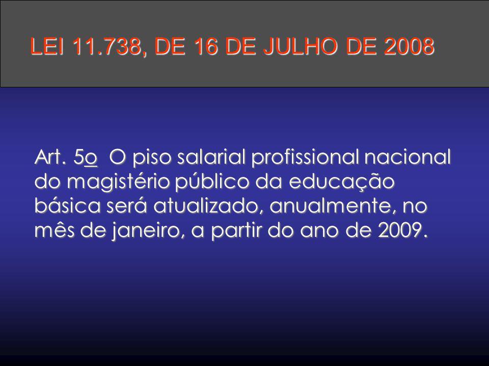 Art. 5o O piso salarial profissional nacional do magistério público da educação básica será atualizado, anualmente, no mês de janeiro, a partir do ano