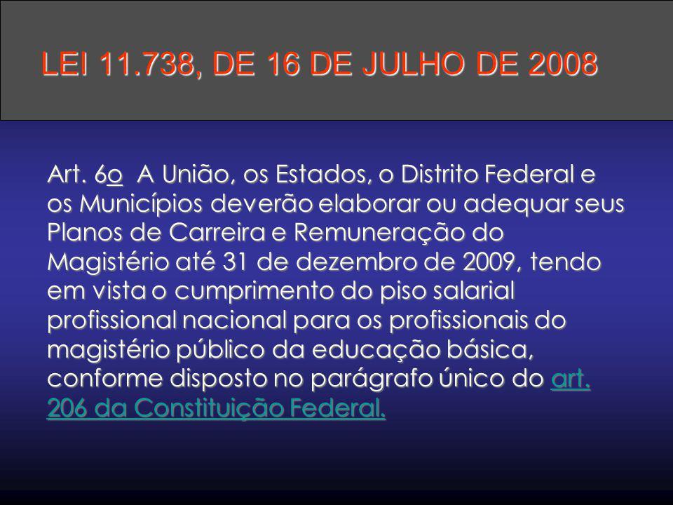 Art. 6o A União, os Estados, o Distrito Federal e os Municípios deverão elaborar ou adequar seus Planos de Carreira e Remuneração do Magistério até 31