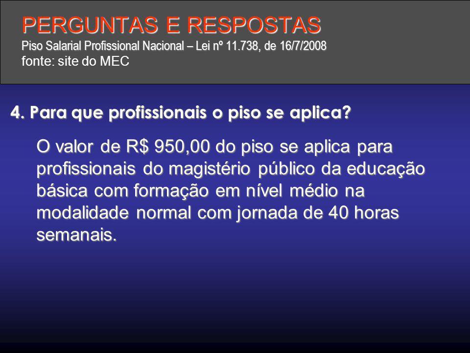 PERGUNTAS E RESPOSTAS Piso Salarial Profissional Nacional – Lei nº 11.738, de 16/7/2008 PERGUNTAS E RESPOSTAS Piso Salarial Profissional Nacional – Le
