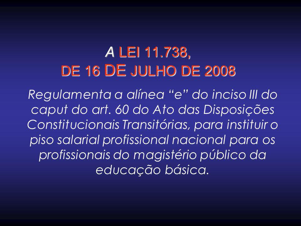 """A LEI 11.738, DE 16 DE JULHO DE 2008 Regulamenta a alínea """"e"""" do inciso III do caput do art. 60 do Ato das Disposições Constitucionais Transitórias, p"""