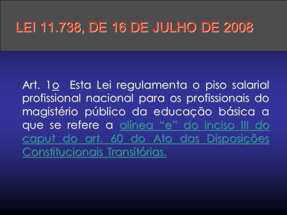 Art. 1o Esta Lei regulamenta o piso salarial profissional nacional para os profissionais do magistério público da educação básica a que se refere a al